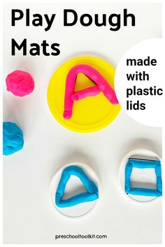 Colorful play dough is fun to use in a literacy activity with preschoolers. Recycle plastic lids to use as play dough mats printed with letters of the alphabet and simple shapes. Preschool Literacy, Literacy Skills, Literacy Activities, Quiet Time Activities, Playdough Activities, Hands On Learning, Early Learning, Easy Playdough Recipe, Play Dough