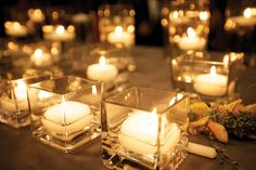 square vases with round candles