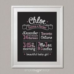 """Chalkboard Birth Stats Prints by Simple Sugar Design. Choose from two designs – """"Handsome Little Man"""" featuring three moustaches, or """"Beautiful Baby Girl"""" featuring three hearts. It also makes a thoughtful welcome home baby gift for new parents! Its A Girl Announcement, Birth Announcement Sign, Birth Announcements, Chalkboard Print, Chalkboard Designs, Chalkboard Ideas, Welcome Home Baby, Foto Baby, Decoration"""