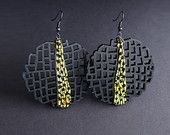 Earrings, modern, contemporary jewelry, FREE shipping, unique, handmade, lasercut wood, polymer clay, black color steel hooks
