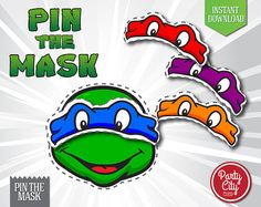 INSTANT DOWNLOAD Printable Ninja Turtles pin the mask game! Simply print, cut out, and have fun! You will receive 3 printable JPG Files ready