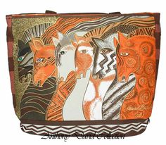 Artist Laurel Burch Painted Fashion Tote Bag - Horses. This exotic horse tote bag makes a great beach bag. The exterior is canvas and the interior is lined with a plastic coating for easy clean up.