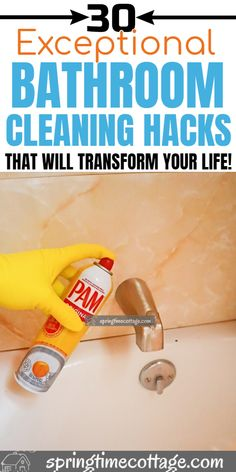 One of the more daunting areas to clean is the bathroom. I've taken the liberty of assembling 30 bathroom cleaning hacks to help you get the most out of your cleaning day. Bathroom Cleaning Hacks, Household Cleaning Tips, Cleaning Day, House Cleaning Tips, Diy Cleaning Products, Cleaning Solutions, Deep Cleaning, Homemade Laundry Detergent, Dishwasher Detergent