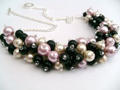 Pink Black and Ivory Pearl Beaded Necklace Bridesmaid Bridal Cluster Necklace, Beaded Necklace, Necklaces, Ivory Pearl, Pearl Beads, Pink Black, Bridesmaid Gifts, Bridal Jewelry, Jewelry Design