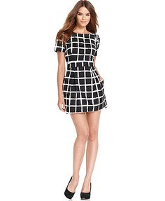 French Connection Dress, Short-Sleeve High-Neck  Plaid A-Line   Web ID: 947920