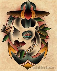 Traditional skull tattoo flash by Darin Blank. Instagram: @darinblanktattoos