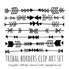 tribal borders clip art, tribal arrow triangle chevron digital scrapbooking borders, tribal digital border edge instant download digital 070...
