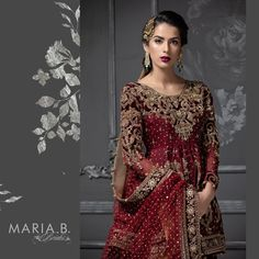Maria B Bridal Collection 2020 Pakistani Wedding Dresses, Pakistani Dress Design, Pakistani Outfits, Indian Dresses, Shadi Dresses, Maria B Bridal, Anarkali, Lehenga, Sharara