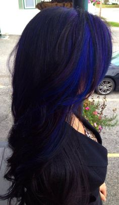 Blue hair peekaboo highlight