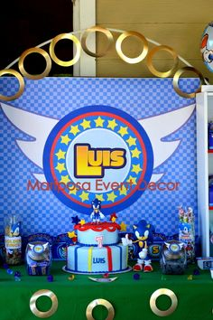 Dessert table and decorations at a Sonic the Hedgehog boy birthday party! See more party ideas at CatchMyParty.com!