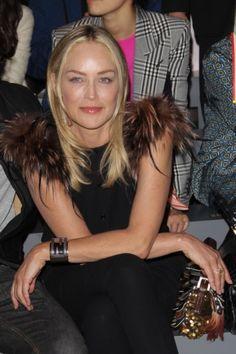 Sharon Stone sitting front row at Fendi.