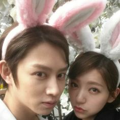 Here's my other favorite married couple HeePuff. We Got Married Global Season 2. Hahaha I love Heechul he's a cherry wolf alright, plus he's quite the man child. To balance the atmosphere Puff's a bit casual but is very much a lady actually she's the mature one & my fave of the two. I think she's well suited for him. Oh and yes, I do see their Bunny Bunny ears:) Y'know I melt for cuteness:)