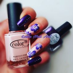 Purple and roses nail art flowers one stroke ciaté color club polish