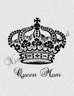 Queen Mom Crown Iron On Transfer Digital Download Image for Burlap, Tote Bags, Tea Towels, Pillows 257