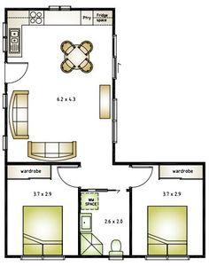 L Shaped House Plans, Small House Floor Plans, L Shaped Tiny House, Modern Small House Design, Tiny House Design, Granny Flat Plans, 2 Bedroom House Plans, Apartment Floor Plans, Cottage Plan