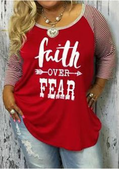 8bcae155570 Plus Size Faith Over Fear Baseball T-Shirt without Necklace - Plusinlove