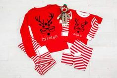 Elf Monogram Infant or Kids Christmas Pajamas - custom pjs- kids christmas pjs - baby christmas pjs - matching family christmas PJs Matching Family Christmas Pjs, Baby Christmas Pjs, Red Christmas, Christmas Sweaters, Christmas Gifts, Personalized Pajamas, Kids Pajamas, Family Shirts, Matching Outfits