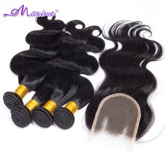 Peruvian Virgin Hair Body Wave,4pcs/Lot,Lace Closure With Bundles,Unprocessed Human Hair Weave Extension Peruvian Body Wave US $138.40
