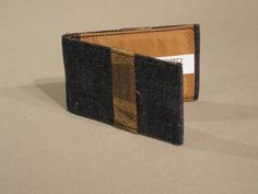 Denim & Satin business/credit card holder with trim