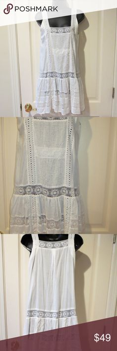 "Sundance Catalog White Lace Pintucks Dress Size S Victorian look - drop waist. 100% cotton. New without tag as it came from a catalog - beautiful but sheer so would need to a slip or would make a wonderful cover-up! Size small - measures 18 1/2"" from underarm to underarm, approx. 38"" at the waist, and is 33 1/2"" long. Sundance Dresses Mini"