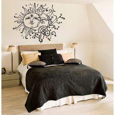 Crescent Moon and Sun Nursery Room Vinyl Sticker Wall Art