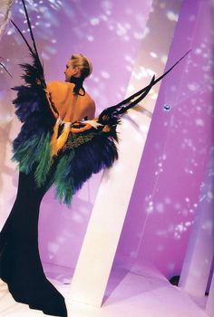 "Thierry Mugler's ""Butterfly"" dress in black velvet sheath with butterfly wings made from multicolored feathers from the ""Les Insectes"" Haute Couture collection. jaglady"