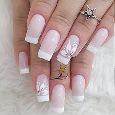 Pink Nail Art, Cute Nail Art, Cute Nails, French Manicure Nails, Manicures, Cute Acrylic Nail Designs, Nail Art Designs, Bride Nails, Long Acrylic Nails