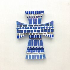 "Small Sapphire Blue Mosaic Cross, Godchild Baptism Gift, Handmade Wall Cross, 6"" Nursery Wall Cross, Decorative Cross, Religious Gifts #baptismgiftboy #nurserywallcross #babyshowergift #godmothergodfather #christeninggift #baptismcross #baptism"