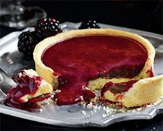 Paint Pot Tarts - Gingered chocolate ganache topped with Chambord and blackberry sauce. Yum.