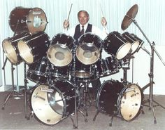 "William F. Ludwig II plays a top-of-the-line rock drummer's ""Monster"" set, ca. 1980. Historic photograph from the William F. Ludwig II Archi..."