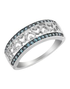 Blue Diamond Heart Ring
