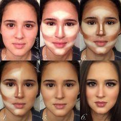 Aplicar la base, mínimo dos colores de base: la clara para iluminar y la oscura para dar forma al rostro. Creo que es estilo Kim Kardashian.