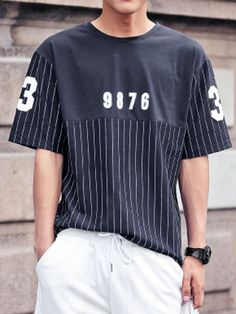Navy, Stripe and Number Print, T-shirt