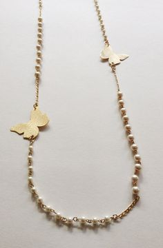 Long Gold butterflies Necklace White pearl Necklace by Sifrimania