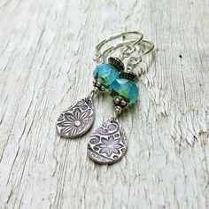 Czech Glass PMC drop Earrings  Fine Silver by BeadinByTheSea, $28.00