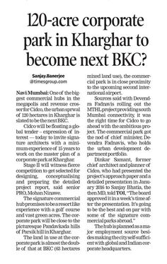 As seen in The Times of India- Navi Mumbai 120-acre corporate park in Kharghar to become next BKC? www.paradisegroup.co.in Contact: 022 2783 1000 #RealEstate #Media #Newspaper #TOI #Property