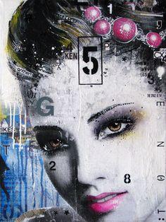 """FRESK TAK. Technique mixte sur toile. 61 x 45.5 cm / Mixed media on canvas. 24'' x 18"""". Janvier 2015, january. Artiste-peintre: Tone"""