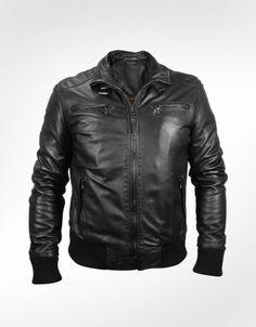 Forzieri Men's Black Leather Motorcycle Jacket- for Koty