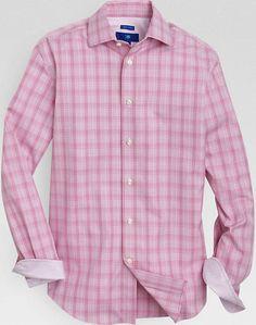 Egara Gray and Plum Plaid Slim Fit Sport Shirt | Men's Wearhouse ...