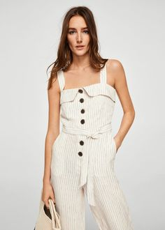 Stripped design Linen fabric Wide straps Bow at waist Button closure