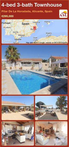 Unspecified for Sale in Pilar De La Horadada, Alicante (Costa Blanca), Spain with 4 bedrooms, 3 bathrooms - A Spanish Life Valencia, Portugal, Alicante Spain, Family Bathroom, Entrance Hall, Double Bedroom, Townhouse, Terrace, Swimming Pools