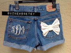 "Monogram Pocket High Waisted Denim Shorts Embroidered Monogrammed Initials ""Your Size""  //SUZNEWS ETSY STORE//"