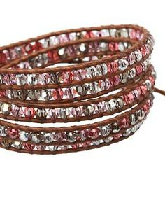 """Chan Luu 32"""" Padparadscha Mix/Natural Brown Leather Bracelet  #accessories  #jewelry  #bracelets  https://www.heeyy.com/suggests/chan-luu-32-padparadscha-mixnatural-brown-leather-bracelet-padparadscha-mix-natural-brown/"""