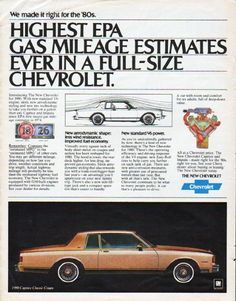 """Description: 1980 CHEVROLET vintage magazine advertisement """"Highest EPA"""" -- Chevrolet Caprice Classic Coupe ... We made it right for the 80s. Highest EPA gas mileage estimates ever in a full-size Chevrolet -- Size: The dimensions of the full-page advertisement are approximately 10.25 inches x 13 inches (26 cm x 33 cm). Condition: This original vintage full-page advertisement is in Excellent Condition unless otherwise noted (minor wrinkling top-left corner; small staple tears right edge can…"""