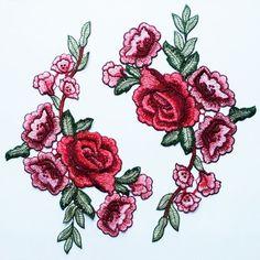 Broderie Rose rouge 2 Appliques fleur patchs fantaisie