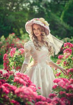 Posing in the rose garden.