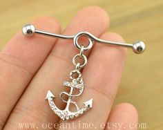 anchor industrial barbell piercing,anchor industrial barbell earring jewelry, bling anchor ear jewelry,oceantime on Wanelo Guys Ear Piercings, Ear Peircings, Multiple Ear Piercings, Body Piercings, Tongue Piercings, Cartilage Piercings, Rook Piercing, Industrial Earrings, Industrial Piercing Jewelry