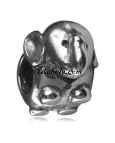 This beautiful cute elephant .925 Sterling Silver European charm fits Pandora, Biagi Trollbeads, Chamilia, and most charm bracelets find out more at adabele.com