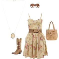 I would not wear boots but other than that and the huge flower on the purse a very nice outfit