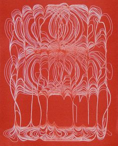 """Ted Kincaid: """"Untitled (red)"""", 2003.  Relief-rolled etching, 11 x 8 ¾ inches.  Edition of 10.  Available from Manneken Press."""